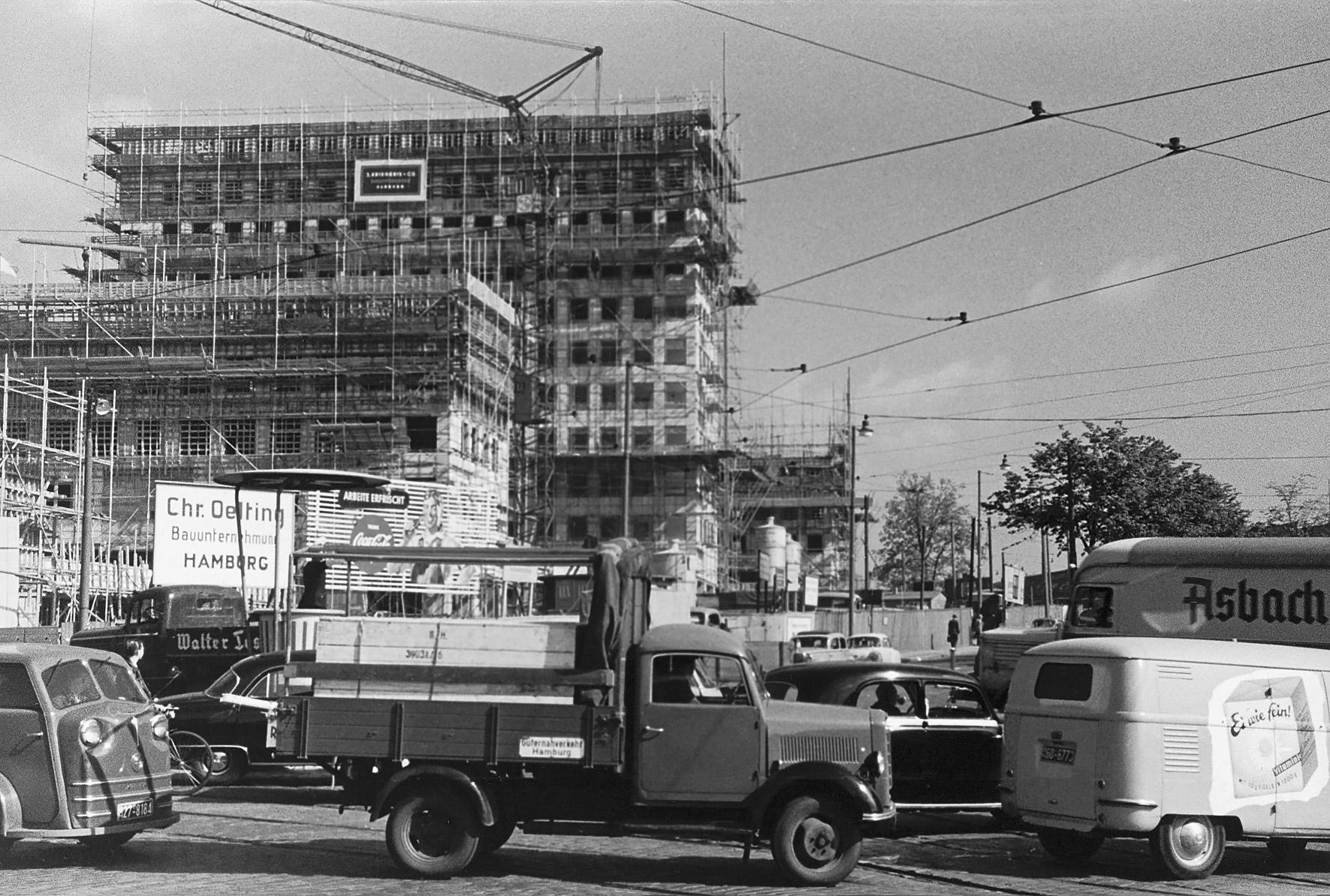 Die Baustelle City Hof 1956.