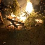 Später brannten Feuer auf dem Paulinenplatz.