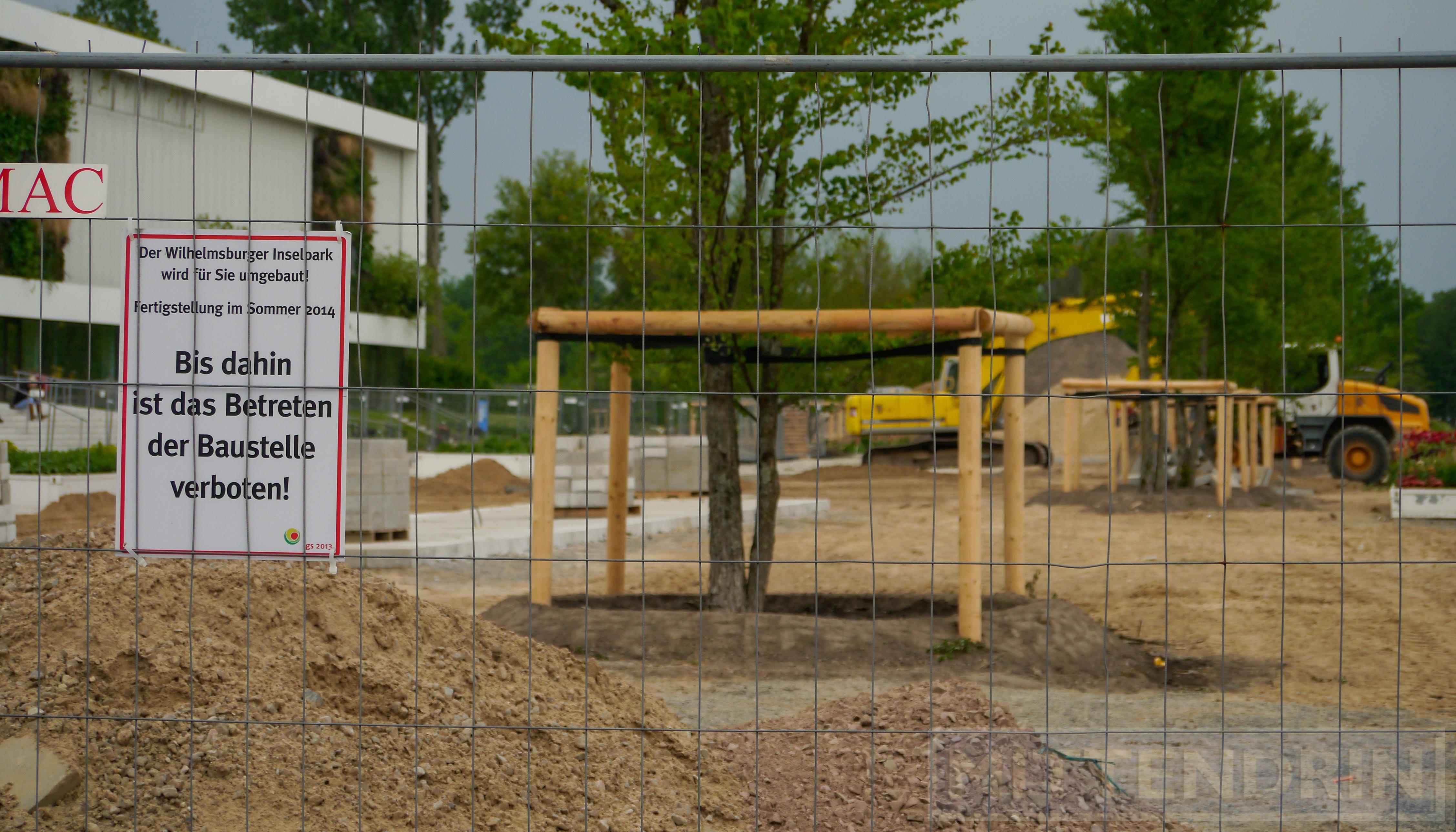 Foto: Teile des Wilhelmsburger Inselparks sind zurzeit nicht zugänglich, weil dort noch Umbauarbeiten laufen.