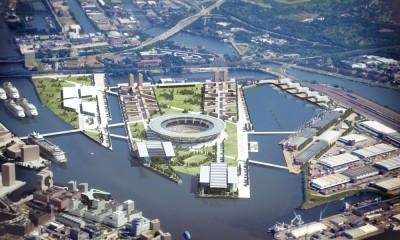 Olympiabewerbung HAmburg 2024 - Detailluftbild, Quelle: Gärtner + Christ