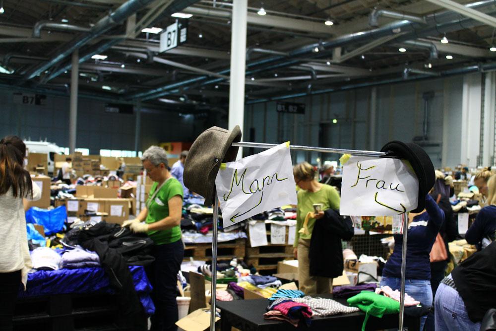 Flüchtlinge Messehallen, Foto: Nadia Hafez
